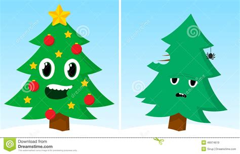 Two Christmas Trees One Happy One Sad After Xmas Stock