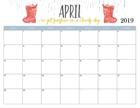 april  calendar cute printable year calendar