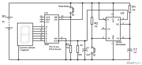 Segment Display Counter Circuit Using Timer