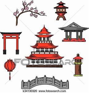 Maison Japonaise Dessin : japon voyage et culture cions clipart k34130320 ~ Melissatoandfro.com Idées de Décoration