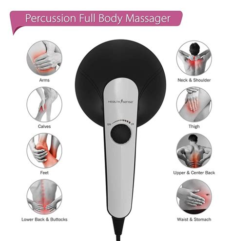 Healthsense Hm270 Dual Pro Electric Handheld Percussion Body Massager With Heat