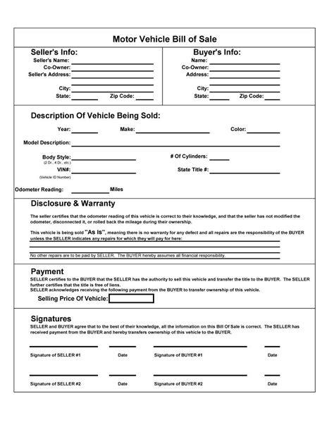 Vehicle Bill Of Sale Template 46 Fee Printable Bill Of Sale Templates Car Boat Gun