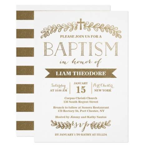 elegant laurels gold baptism invitation zazzlecom