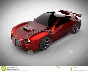 Red Luxury Brandless Sport Car On White Background Stock ...