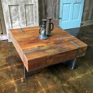 Square modern reclaimed wood coffee table in stock for Contemporary wood coffee tables and end tables