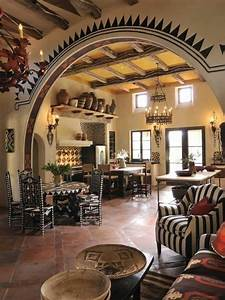Southwestern Style Homes Kitchen Room With Archway And