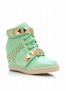 Studded Pyramid Wedge Sneakers | Jordan fashion | Pinterest