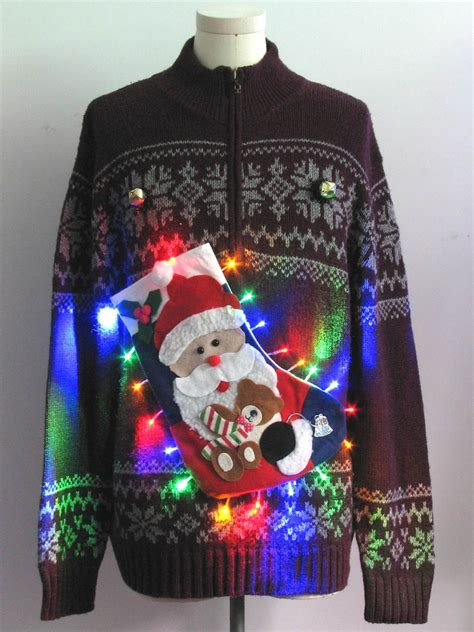 ugly light up christmas sweaters mens multicolor lightup hand embellished ugly christmas
