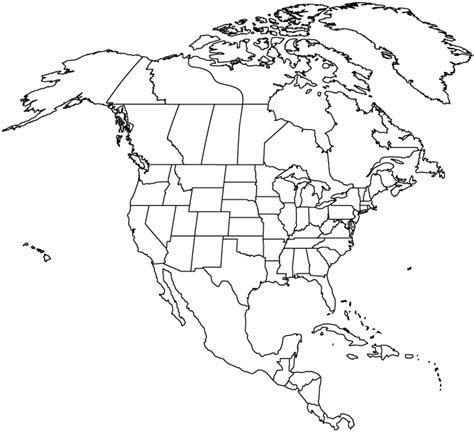 outlined map  north america map  north america