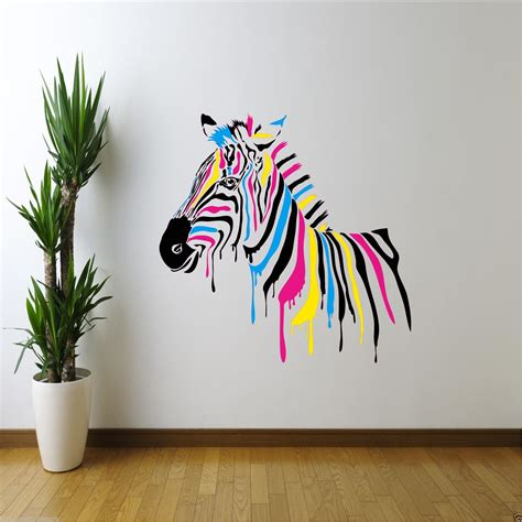 colour zebra abstract animals wall sticker boys bedroom decal mural ebay