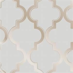 Moroccan Trellis Global Bazaar Grey Beige Removable Wallpaper