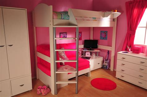 Furniture Twin Size Loft Bed With Mini Desk On Wooden