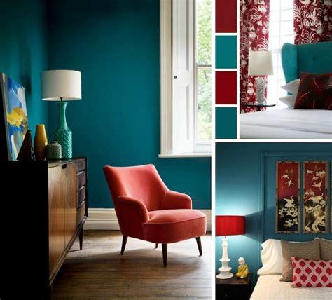 deco salon chambre bleu canard rouge cardinal  blanc