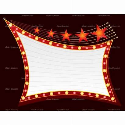 Marquee Showing Sign Clipart Broadway Vector Neon