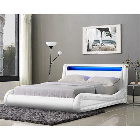 Lit Pas Cher Lits Adulte Cadres De Lit Neptune Lit Adulte Avec Led 140x190cm Blanc Sommier