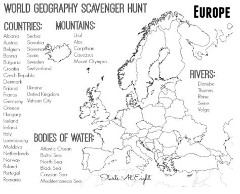 Physical Features Of Europe Worksheet Worksheets For School Getadating