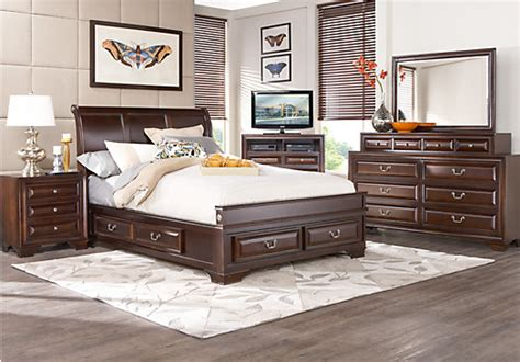 mill valley king bedroom set mill valley ii cherry 5 pc king sleigh bedroom w storage