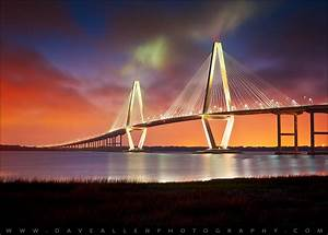 charleston sc arthur ravenel jr bridge sunset With letter photography art charleston sc