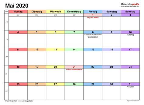 Monatskalender 2020, 2021, 2022 kostenlos downloaden und drucken. Kalender Mai 2020 als Word-Vorlagen