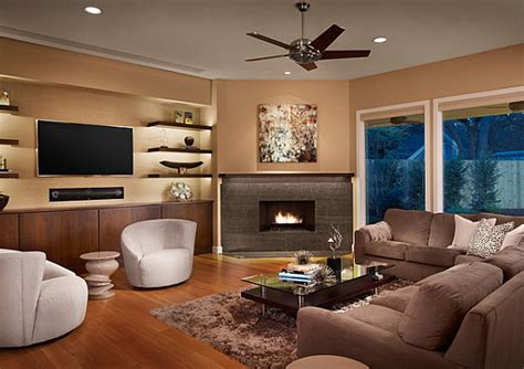Living Room With Fireplace In Corner by Sleek Corner Fireplaces With Modern Flair
