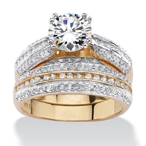 affordable bridal sets 2 55 tcw cubic zirconia two bridal set in18k gold