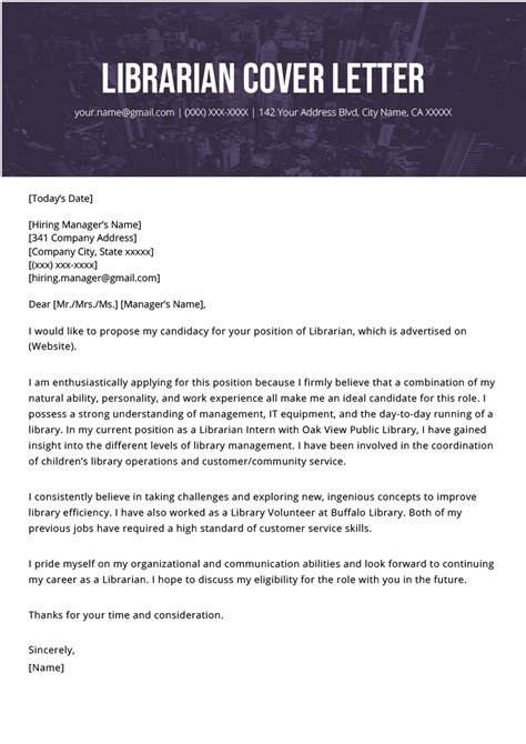 librarian cover letter  writing tips resume genius