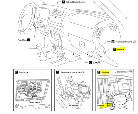 i a 2000 nissan xterra se 4wd and the fan switch for
