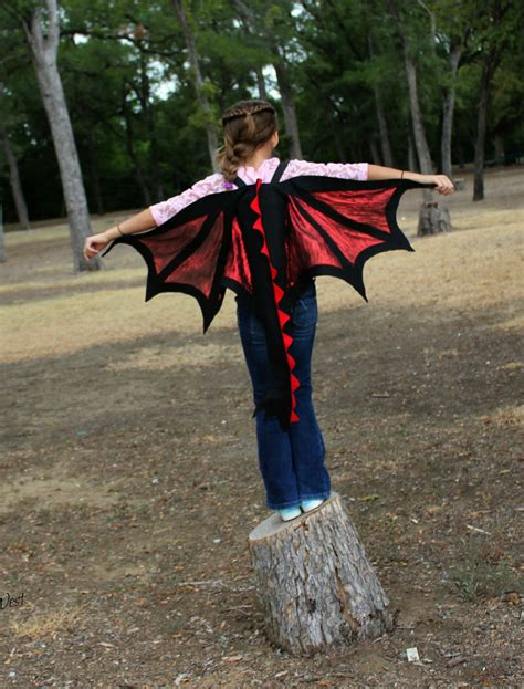dragon wings tail costume black red kids age   adult