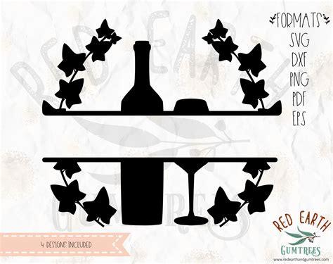 kitchen split monogram frame baking wine bottle  wine glass spoon fork  knife svg eps