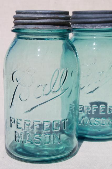 vintage blue glass canning jars w/ zinc lids, Ball Perfect