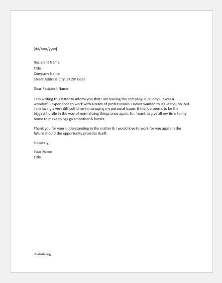 Sample Resignation Letter With Reason For Leaving - Collection - Letter Templates