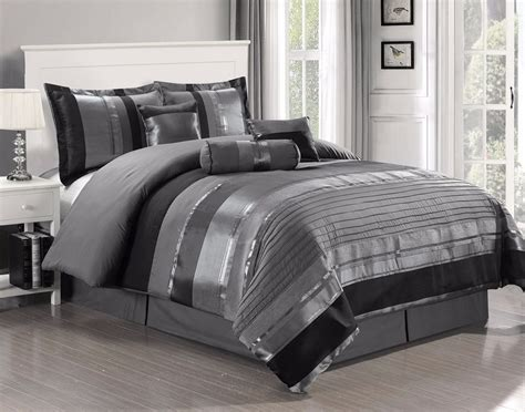 26759 bed comforter sets 7 pc grey black silver stripe chenille comforter set