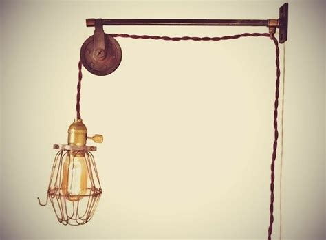 vintage industrial pulley sconce wall mount cage l
