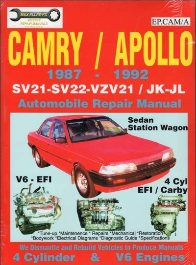 car repair manuals online pdf 1992 toyota camry electronic toll collection toyota camry holden apollo 4 cyl v6 1987 1992 sagin workshop car manuals repair books