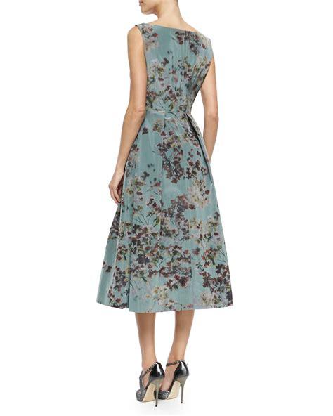 pleated hem sleeveless dress unger floral sleeveless tea length cocktail dress lyst