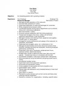 restaurant manager resume summary objective for restaurant resume best resume exle