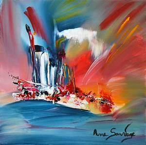 Peinture abstraite coloree creation de tableau for Peindre sur peinture acrylique