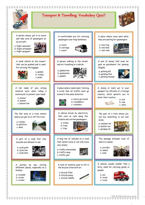 transport and travelling vocabulary quiz worksheet free esl printable worksheets made by teachers