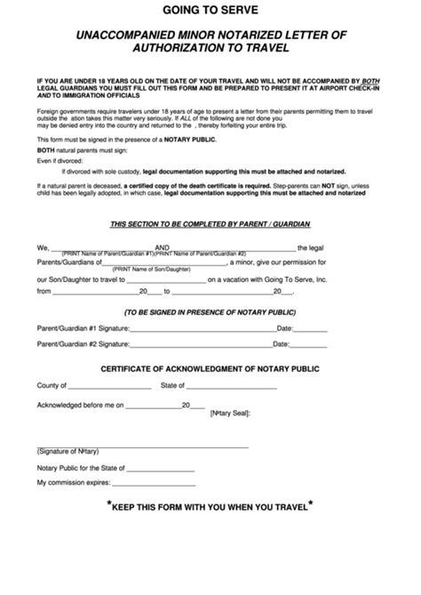 unaccompanied minor notarized letter  authorization