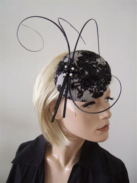 black floral embroidered lace black white beaded lace and quills button cocktail hat
