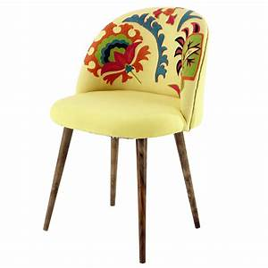 Embroidered cotton and sheesham wood vintage chair in