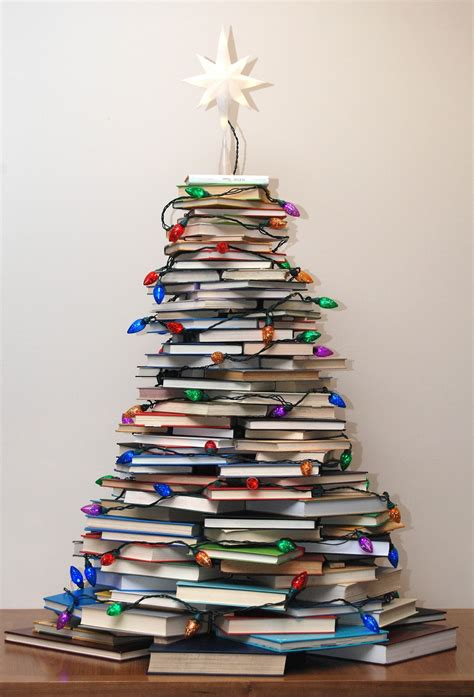 very merry vintage syle how to make a christmas tree with books