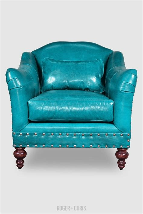 turquoise antique leather armchair with nail heads vera