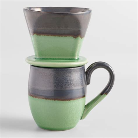 Vintage sunflower gingham checkered coffee mug cup. Green Reactive Glaze Ceramic Pour Over Coffee Mug Set | World Market | Glass coffee mugs, Pour ...