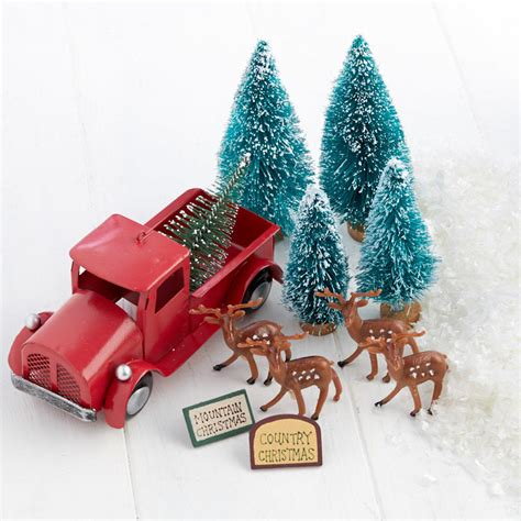 miniature red pickup truck christmas scenery set whats