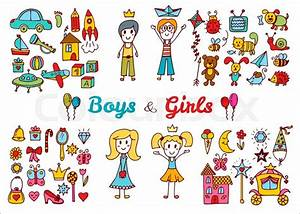 Hand Drawn Baby Boy And Girl Toys Set  Doodle Children