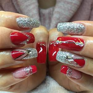 26+ Red and Silver Glitter Nail Art Designs , Ideas ...