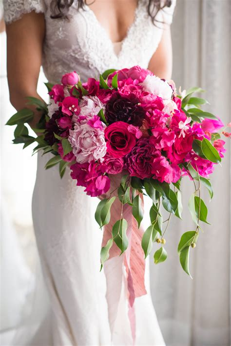 pink hot pink wedding bouquets preowned wedding