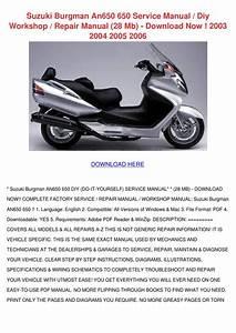 Suzuki Burgman An650 650 Service Manual Diy W By Roseline