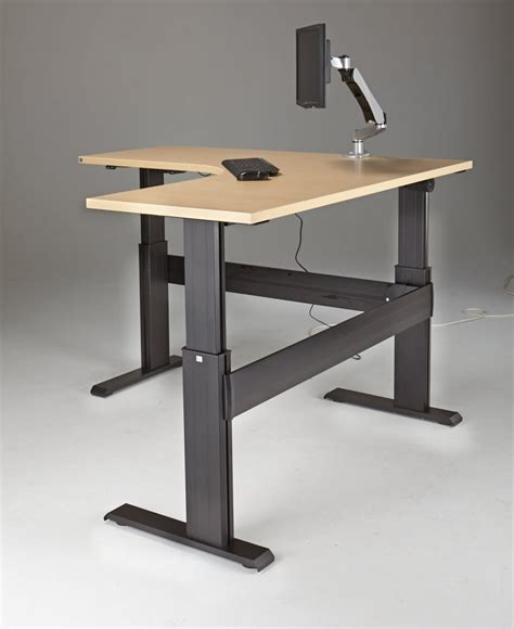sit stand desk base newheights eficiente lt series l shaped electric sit